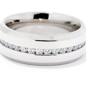 Silver Simulated Diamond Stainless Steel Ring 13